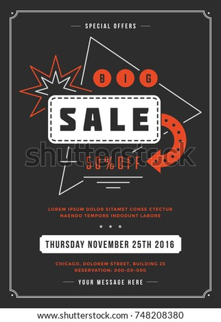 Black Friday Sale Flyer or Poster Design discount offers. Sale retro typography banner template for promotional material. Vector illustration. #748208380