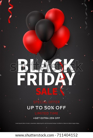 Black Friday sale flyer template. Dark background with red and black balloons for seasonal discount offer. Vector illustration with confetti and serpentine.