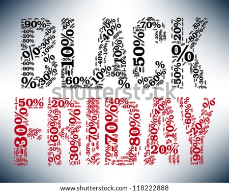 Black Friday sale indication. Word cloud, tag cloud text business concept. Word collage. Vector illustration.