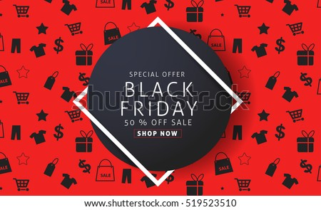 Black Friday sale inscription design template. Vector illustration