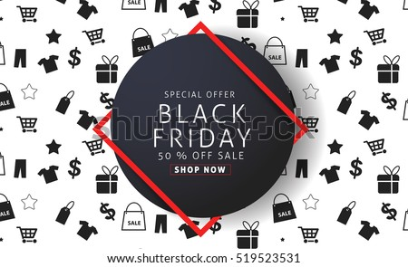 Black Friday sale inscription design template.Vector illustration