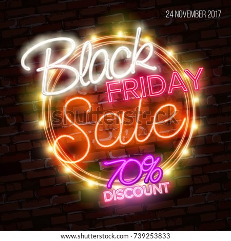 Black friday sale, massive savings poster design concept, neon style. Luminous light colorful line text lettering sign on dark dots backdrop. Glow effect. Vector illustration
