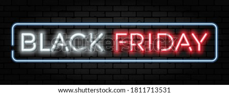 Black Friday Sale neon banner. Design signboard for blackfriday sale on brickwall texture. Glowing white and red neon letters in frame. Realistic vector illustration