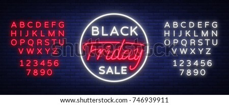 Black Friday sale neon sign, neon banner, background brochure. Bright glowing advertising, sales discounts Black Friday. Vector illustration. Editing text neon sign. Neon alphabet