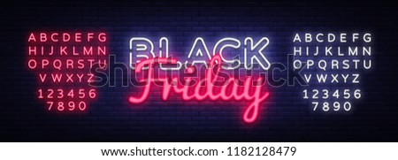 Black Friday Sale neon text vector design template. Black Friday Sale neon logo, light banner design element colorful modern design trend, night bright advertising. Vector. Editing text neon sign