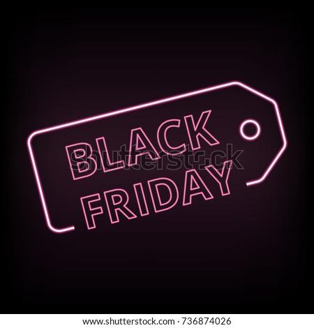 black friday sale neon vector