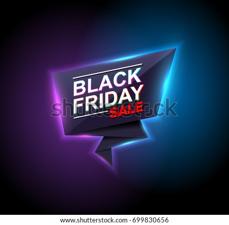 black friday sale neon vector