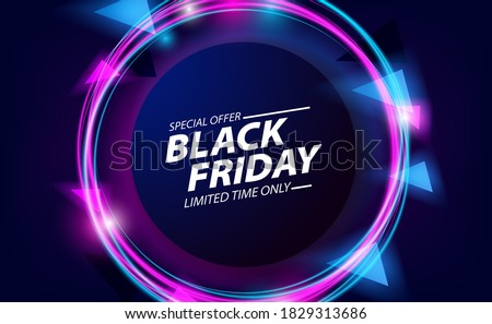 Black friday sale offer banner with round circle with neon color and bright glowing effect for nightlife Foto stock ©