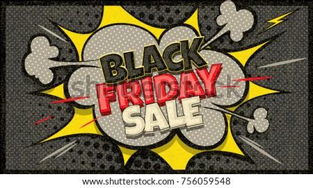 black friday sale pop art cloud