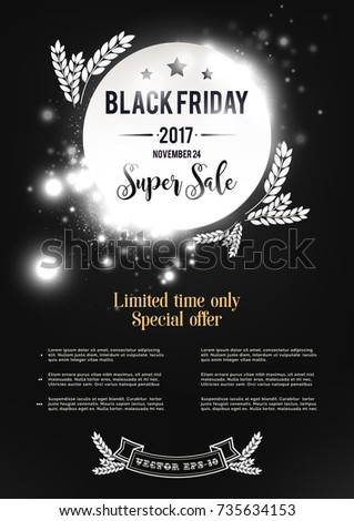 Black friday sale poster ads. Black and white lights bokeh background. Vector illustration banner.