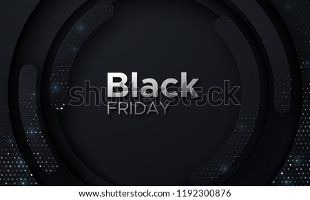 Black Friday sale poster. Commercial discount event banner. Black abstract background with geometric paper shapes and sparkling silver glitters. Vector business illustration. Ads sign.