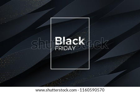Black Friday sale poster. Commercial discount event banner. Black background textured with paper 3d dynamic shapes and golden glittering halftone pattern. Vector business illustration. Ad sign.