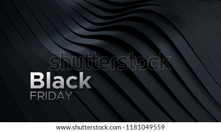 Black Friday sale poster. Commercial discount event banner. 3d dynamic sliced black surface. Abstract background. Vector business illustration. Ads sign. #1181049559