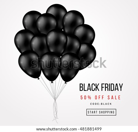 Black Friday Sale Poster with Dark Shiny Balloons Bunch Isolated on White Background. Vector illustration.