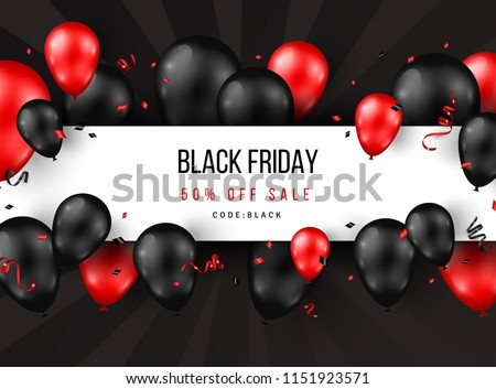 Black Friday Sale poster with shiny balloons, confetti and horizontal frame. Vector illustration.