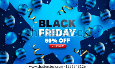 Black Friday Sale Promotion Poster or banner with balloons  concept.Special offer 50% off sale.Promotion and shopping template for Black Friday