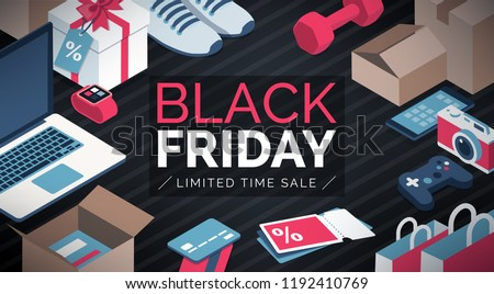 Black friday sale shopping banner with products and cardboard boxes
