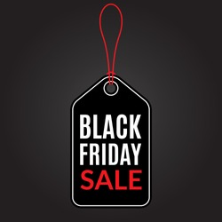 Black Friday Sale tag with rope. Promotion, Discount and Price off banner or badge. Vector illustration.