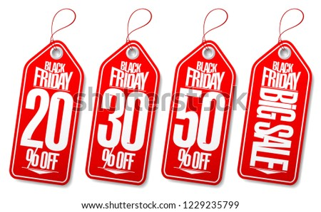 Black friday sale tags set - 20% off, 30% off, 50% off, big sale #1229235799