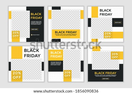 Black friday sale template. Set of Editable minimal square banner template. Black and yellow background color with shape. Suitable for social media post and web ads.