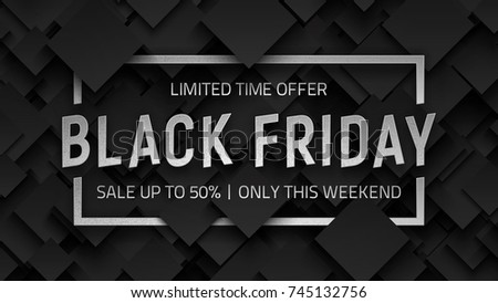 Black Friday Sale Vector Background Design Template. Silver Metal 3D Text Lettering and Frame on Dark Gray Abstract Backdrop. End of November Weekend Illustration - Shutterstock ID 745132756