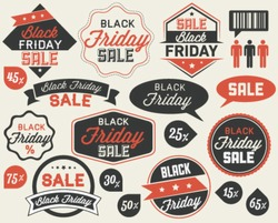 Black Friday Sale Vector Elements in Vintage Style. Badges and Labels