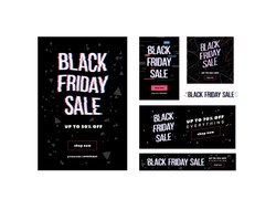 Black friday sale vector web banner templates set. Special offer, hot price flyer, discount leaflet pack. Marketing advertising with glitch effect on black background. Cheap shopping, final clearance