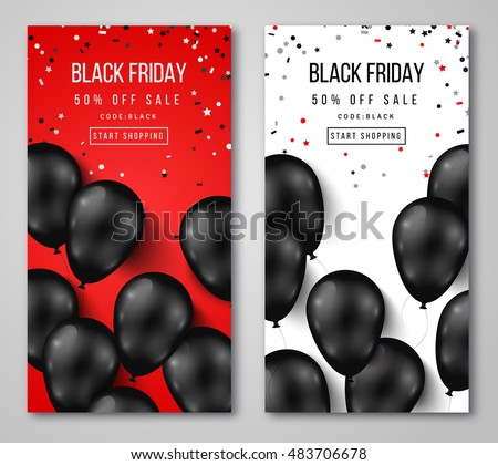Black Friday Sale Vertical Banners. Flying Glossy Balloons on White and Red Background. Falling Confetti. Vector illustration.
