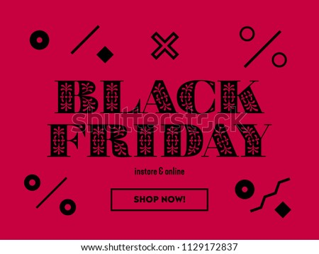 Black Friday Sale. Web Banner or Coupon Design Layout Template. Abstract Pattern. Black Friday Announcement Special Offer Ad. Vector Illustartion​ with Percentage sign pattern on a Red background.