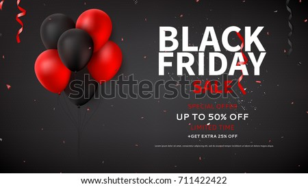 Black Friday sale web banner template. Dark background with red and black balloons for seasonal discount offer. Vector illustration with confetti and serpentine.
