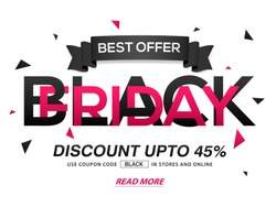 Black Friday Sale with Discount upto 45%, Creative typographical background with ribbon, Stylish Poster, Banner or Flyer design.