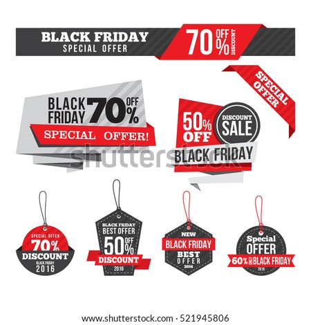 Black Friday Sales Tag and Discount Banner collection