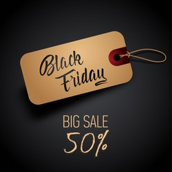 Black Friday sales tag with hand lettering. Vector illustration.