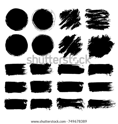 Black Friday set. Blots, banners, labels, backgrounds, brushes. Black Paint/ink texture. Vector illustration #749678389