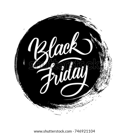 Black Friday. Special offer banner with handwritten text design and circle brush stroke background for commerce, business, promotion and advertising. Vector illustration.