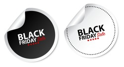 Black Friday Stickers Isolated On White Background
