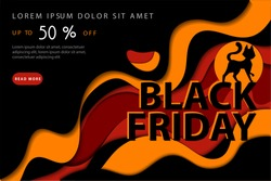 Black Friday Super Mega Sale, Up To 50 Off Concept. Abstract Composition With Black Cat On Colorful Wavy Lines In Dark Yellow And Red Colors On Black Background. Vector Illustration In Flat Style