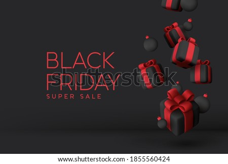 Black Friday Super Sale. Realistic black gifts boxes. Falling gift box full of decorative ball festive object. Red text lettering. New Year and Christmas design. Xmas background. vector illustration