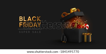 Black Friday Super Sale. Realistic black gifts boxes. Open gift box full of decorative festive object. Golden text lettering. New Year and Christmas design. Xmas background. vector illustration stock photo