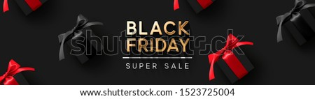 Black Friday Super Sale. Realistic black gifts boxes. Pattern with gift box with red bow. Dark background golden text lettering. Horizontal banner, poster, header website. vector illustration