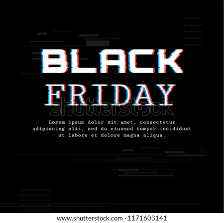 Black Friday. Template Banner with trend glitch effect