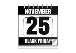 Black Friday 2016.  Wall calendar. 25 November. Black Friday date in the calendar. Black calendar isolated on white background. Vector illustration
