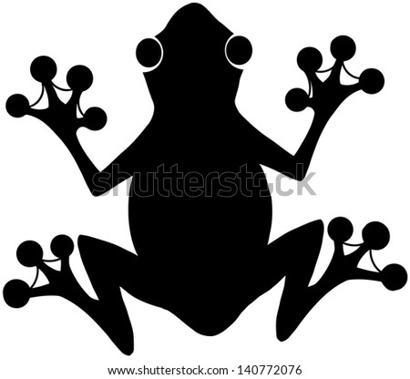 black frog silhouette on the