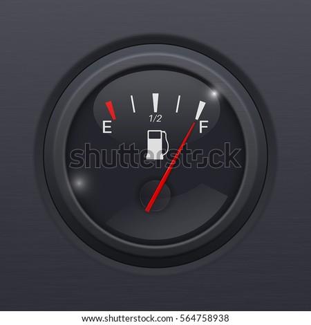 Black fuel gauge. Full tank. Vector 3d illustration on black background.
