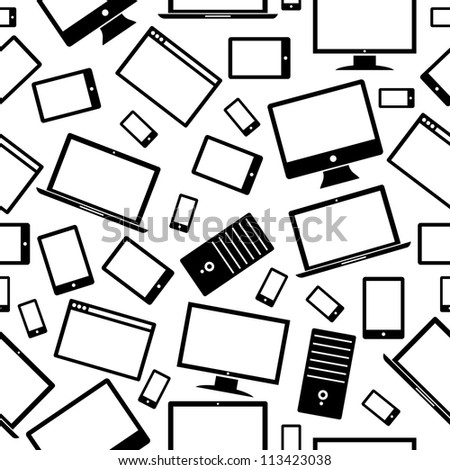 Black gadgets icons seamless pattern isolated over white. Vector illustration layered for easy manipulation and custom coloring.