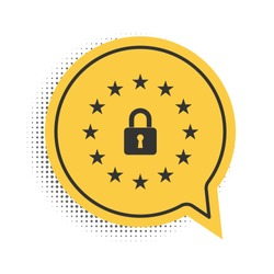 Black GDPR - General data protection regulation icon isolated on white background. European Union symbol. Security, safety, protection, privacy. Yellow speech bubble symbol. Vector.