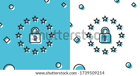 Black GDPR - General data protection regulation icon on blue and white background. European Union symbol. Security, safety, protection, privacy concept. Random dynamic shapes. Vector Illustration