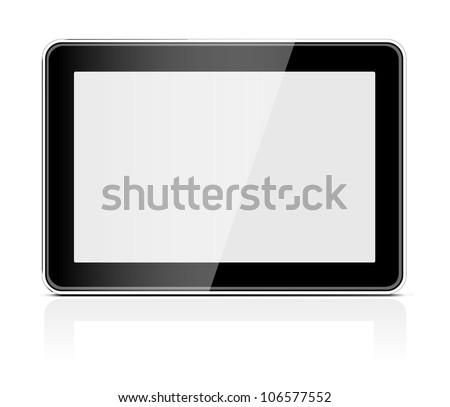 Black generic tablet pc on white background. Vector illustration