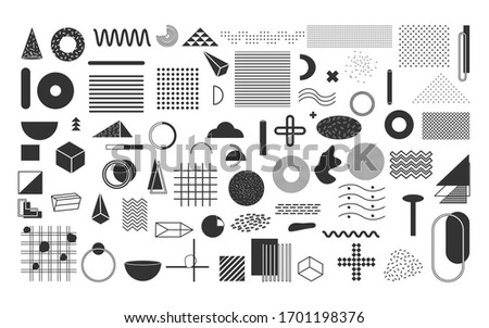 Black geometric shapes set. Vintage memphis elements, different shape funky graphic silhouette 90s.Trend retro style 80s, abstract sign for print design banner, web poster Isolated vector illustration