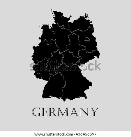 black germany map on light grey